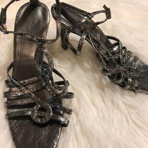 Elie Tahari silver strappy heels shoes 7.5